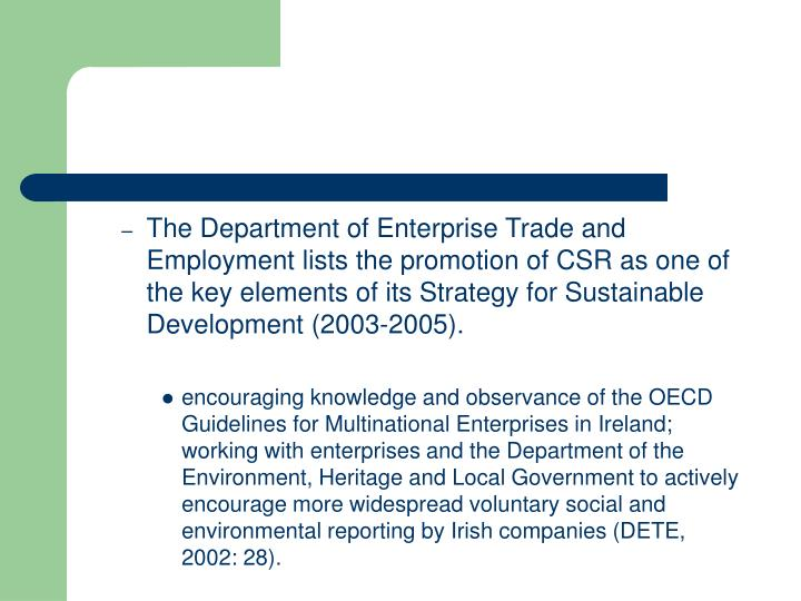 The Department of Enterprise Trade and Employment lists the promotion of CSR as one of the key elements of its Strategy for Sustainable Development (2003-2005).