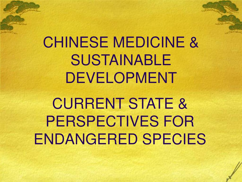 chinese medicine sustainable development l.