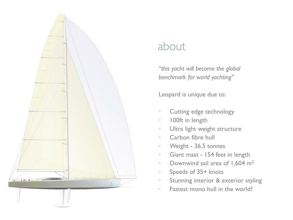 """""""this yacht will become the global"""