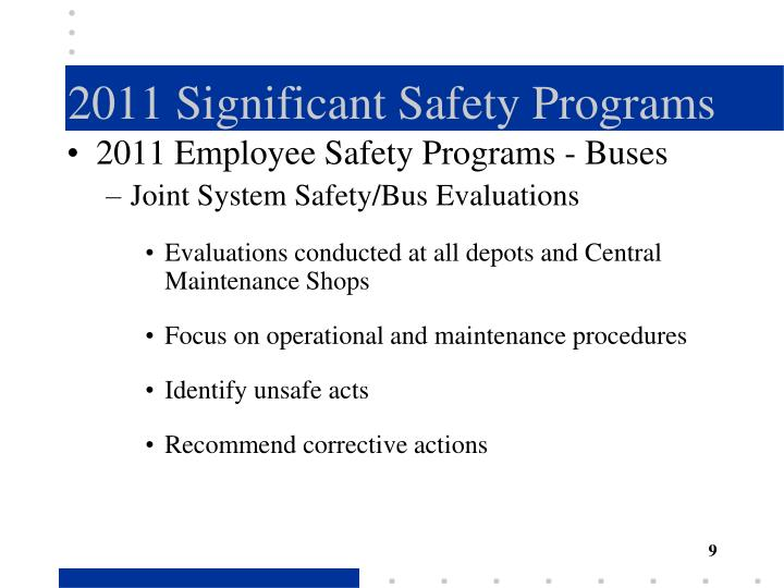 2011 Significant Safety Programs
