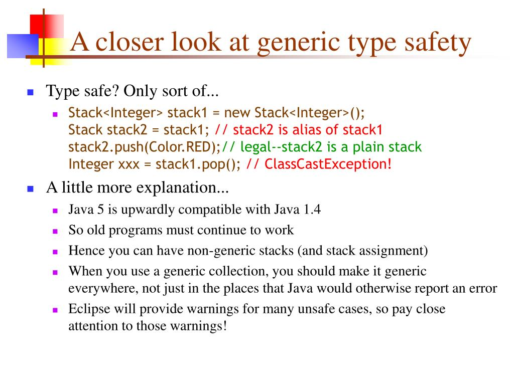 A closer look at generic type safety