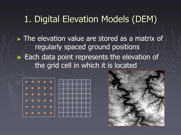 1. Digital Elevation Models (DEM)