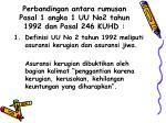 perbandingan antara rumusan pasal 1 angka 1 uu no2 tahun 1992 dan pasal 246 kuhd
