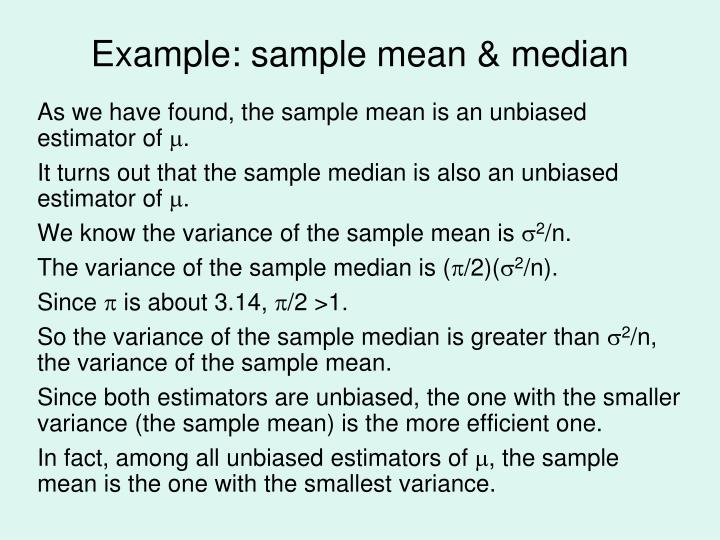 Example: sample mean & median
