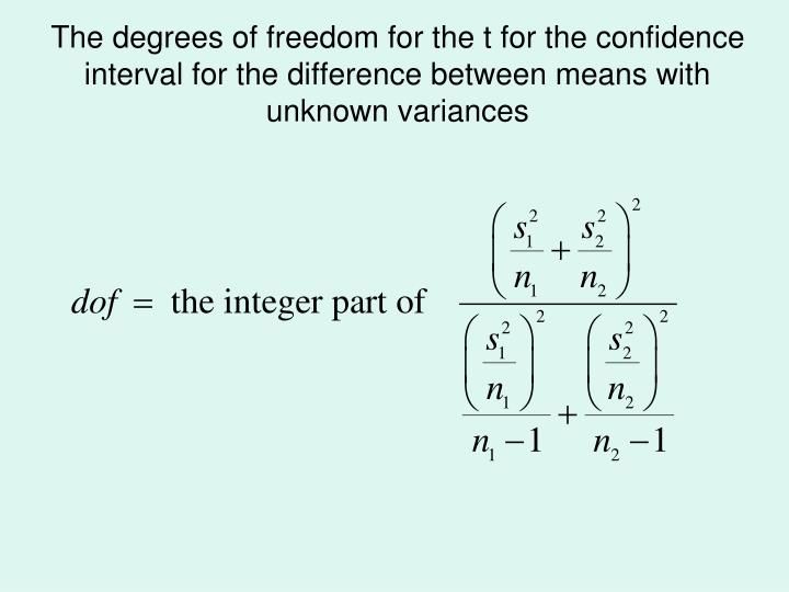 The degrees of freedom for the t for the confidence interval for the difference between means with unknown variances