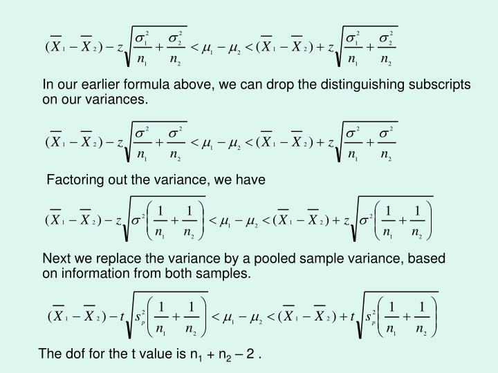 In our earlier formula above, we can drop the distinguishing subscripts on our variances.
