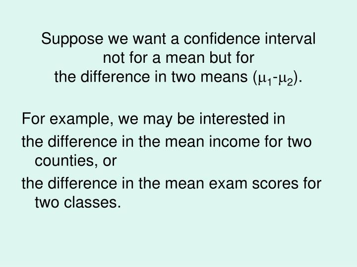 Suppose we want a confidence interval