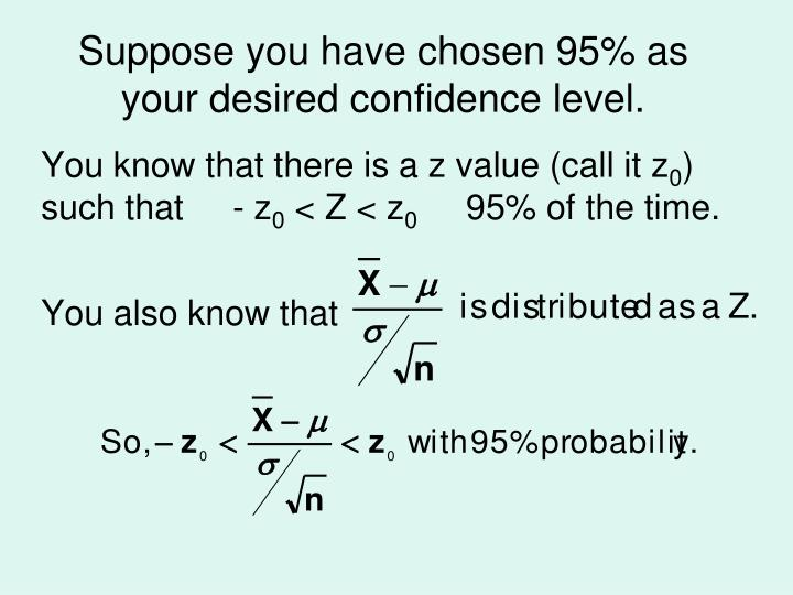 Suppose you have chosen 95% as your desired confidence level.