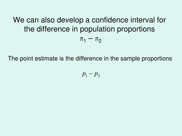 We can also develop a confidence interval for the difference in population proportions