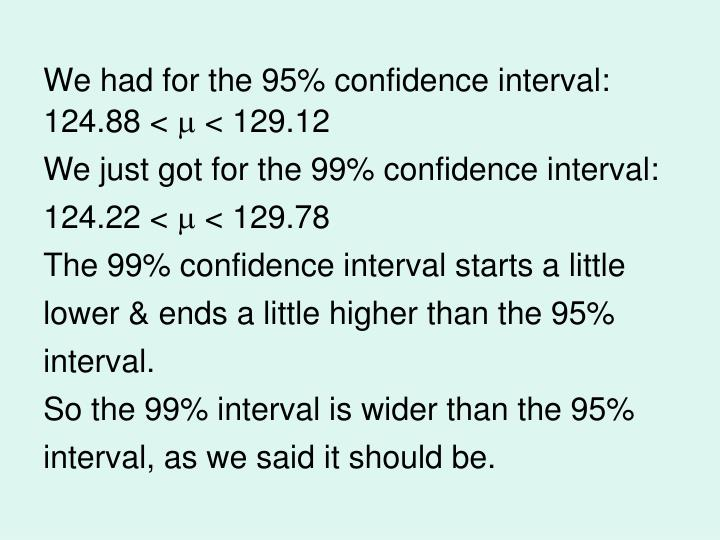We had for the 95% confidence interval: