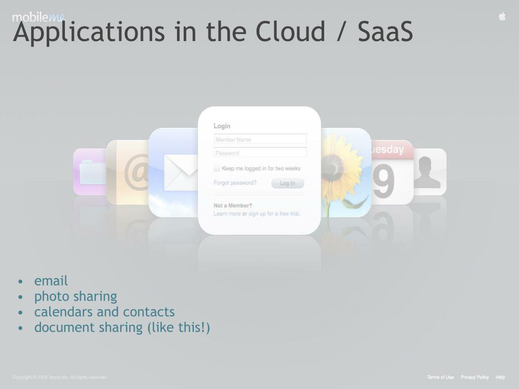 Applications in the Cloud / SaaS