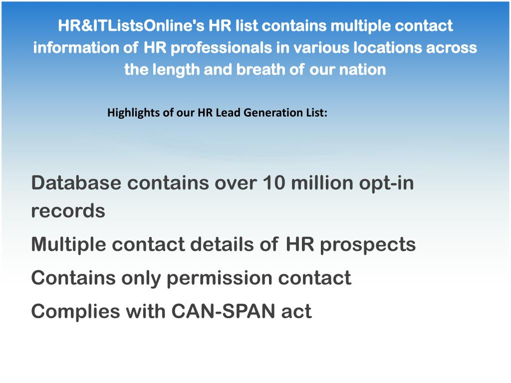 HR&ITListsOnline's HR list contains multiple contact information of HR professionals in various locations across the length and breath of our nation
