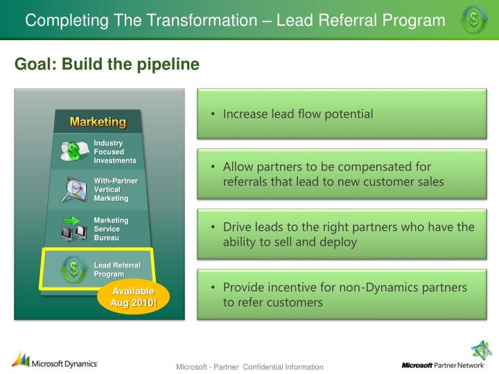 Completing the transformation lead referral program