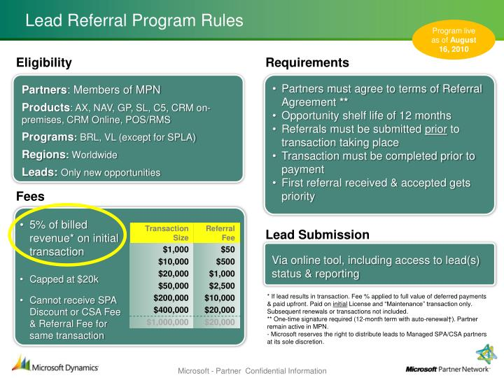 Lead referral program rules