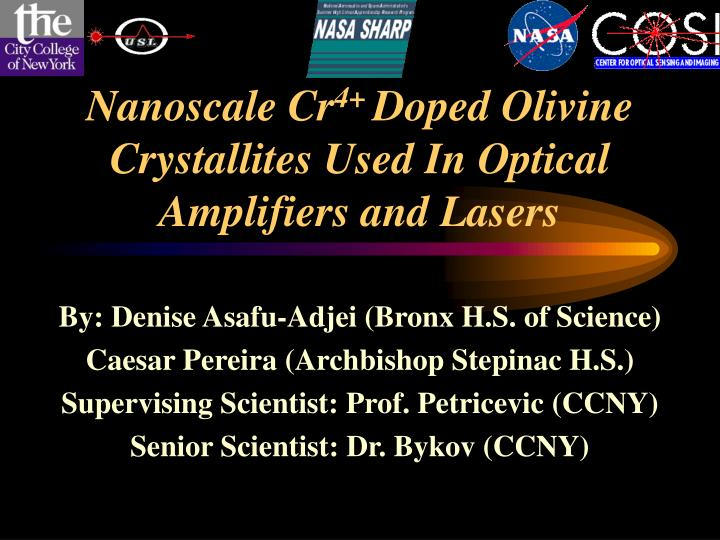nanoscale cr 4 doped olivine crystallites used in optical amplifiers and lasers