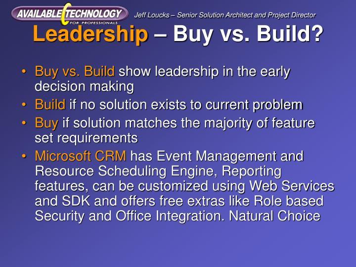 Leadership buy vs build
