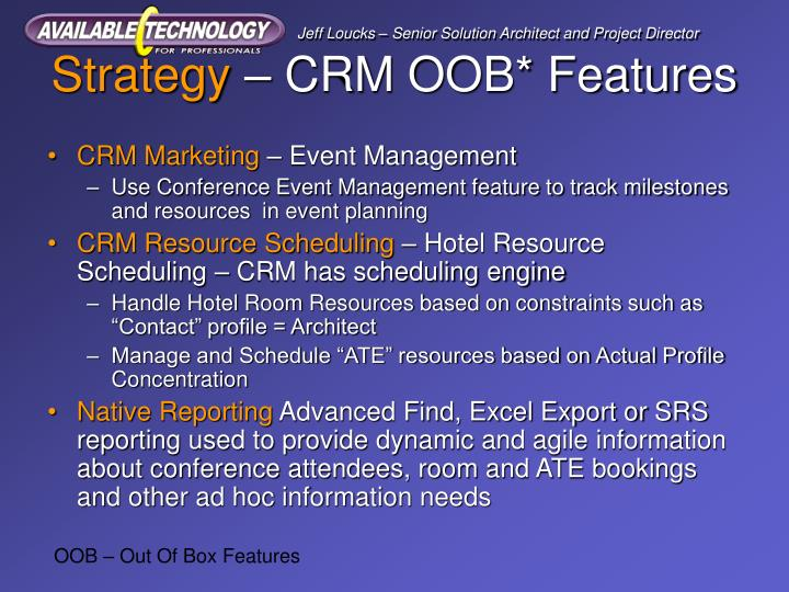 Strategy crm oob features