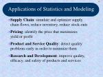 applications of statistics and modeling