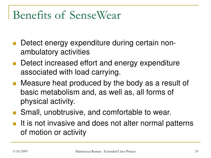 Benefits of SenseWear
