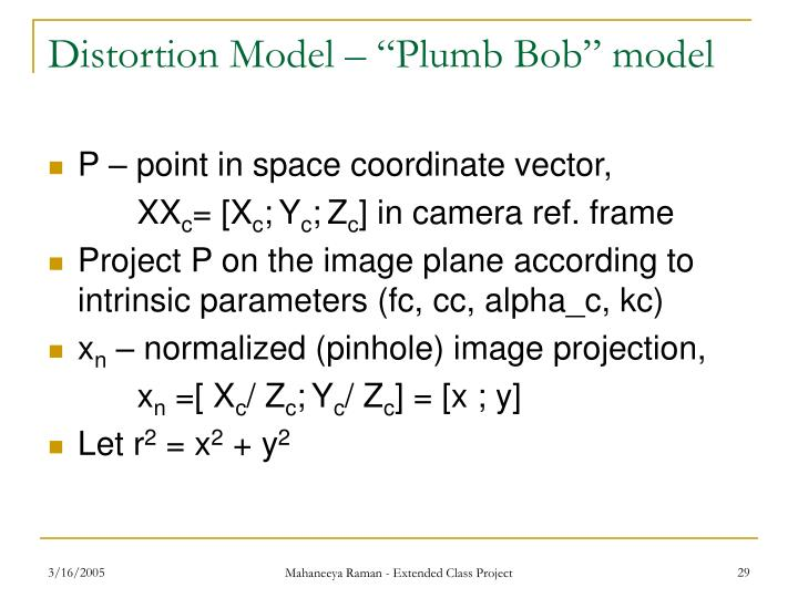 "Distortion Model – ""Plumb Bob"" model"