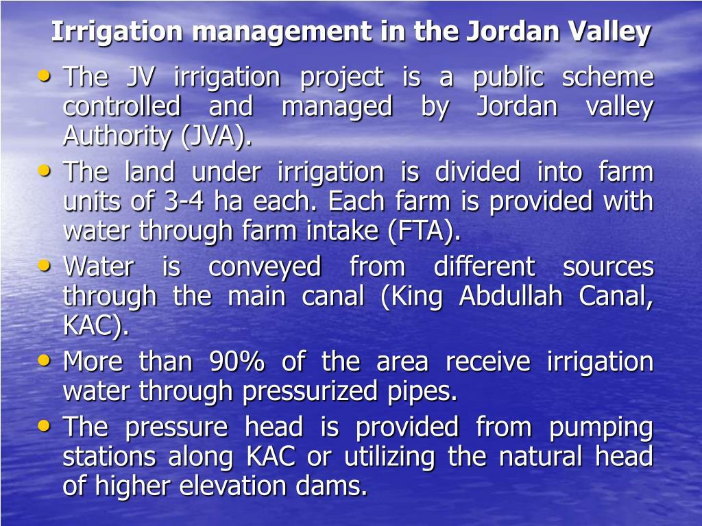 Irrigation management in the Jordan Valley