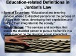 education related definitions in jordan s law