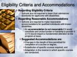 eligibility criteria and accommodations