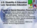 u s disability education law secondary education