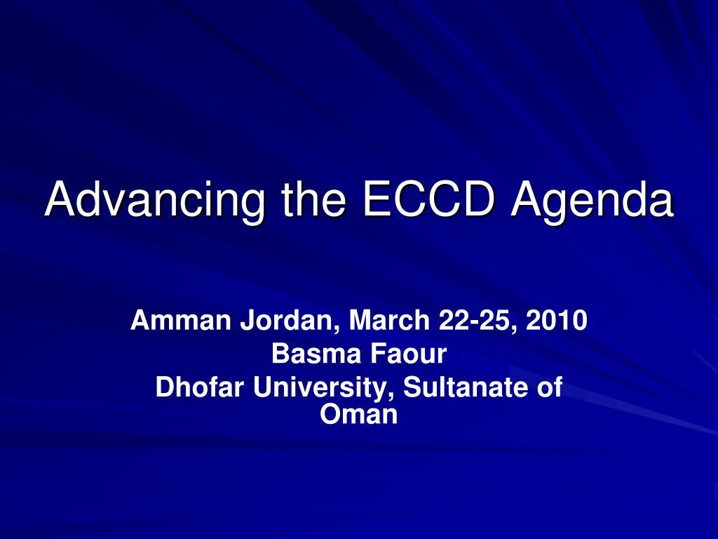 advancing the eccd agenda l.