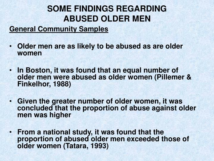 Some findings regarding abused older men