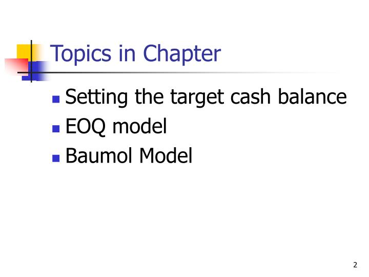 Topics in chapter