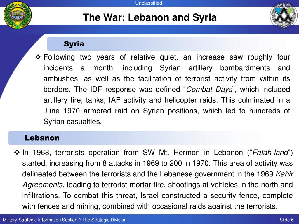 The War: Lebanon and Syria