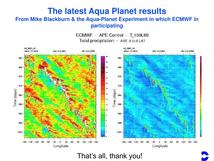 The latest Aqua Planet results