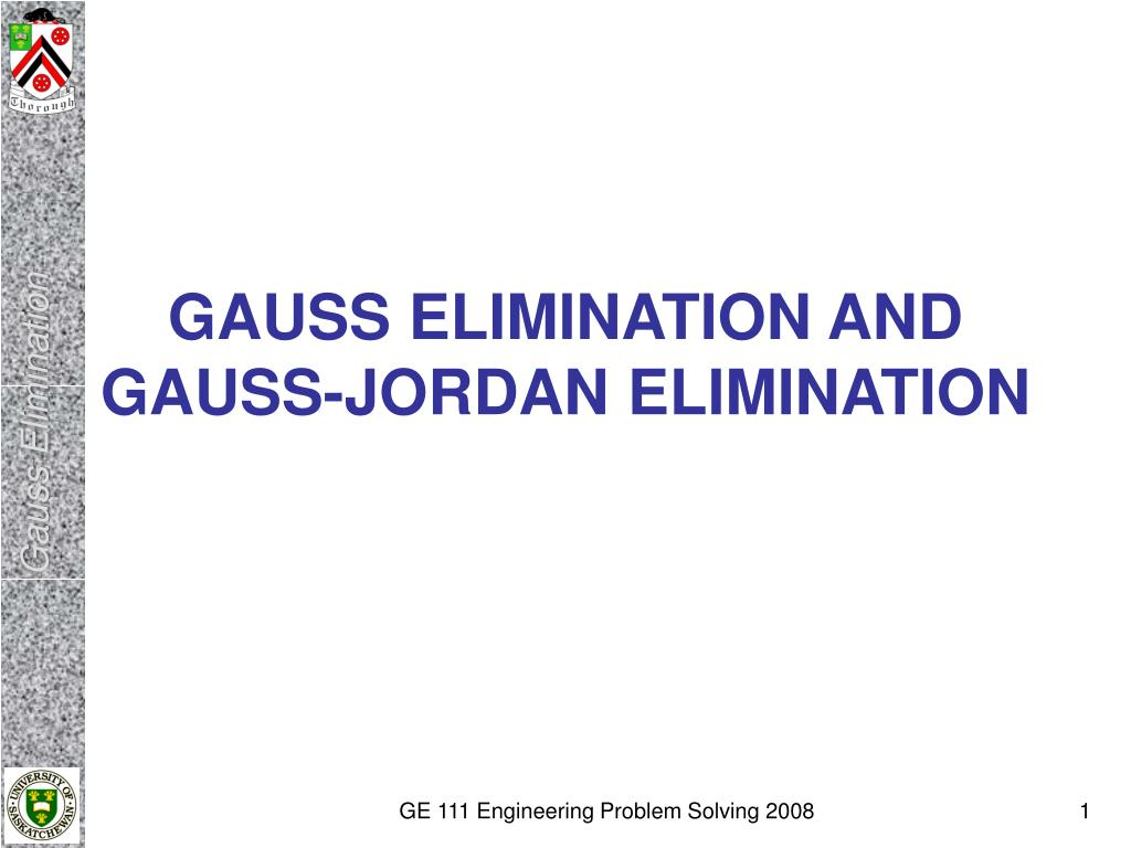 gauss elimination and gauss jordan elimination l.