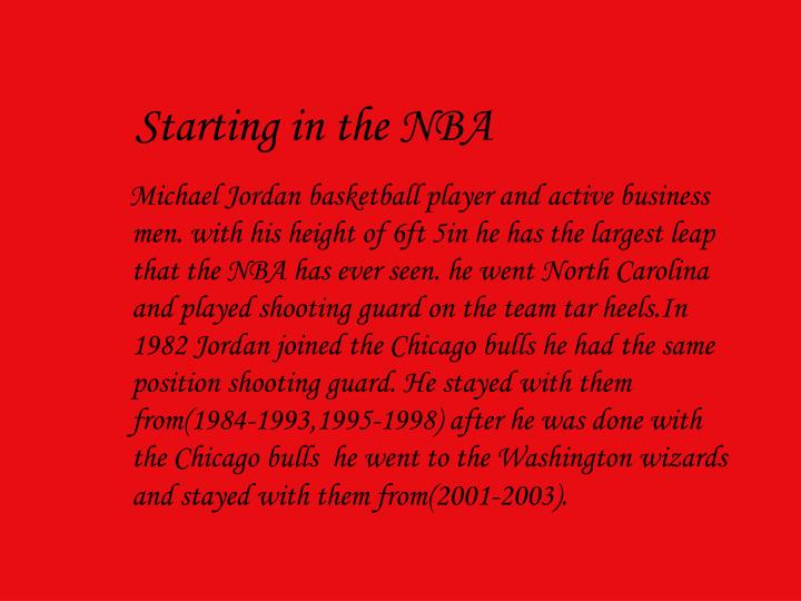 Starting in the nba