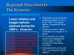 regional disconnects the economy