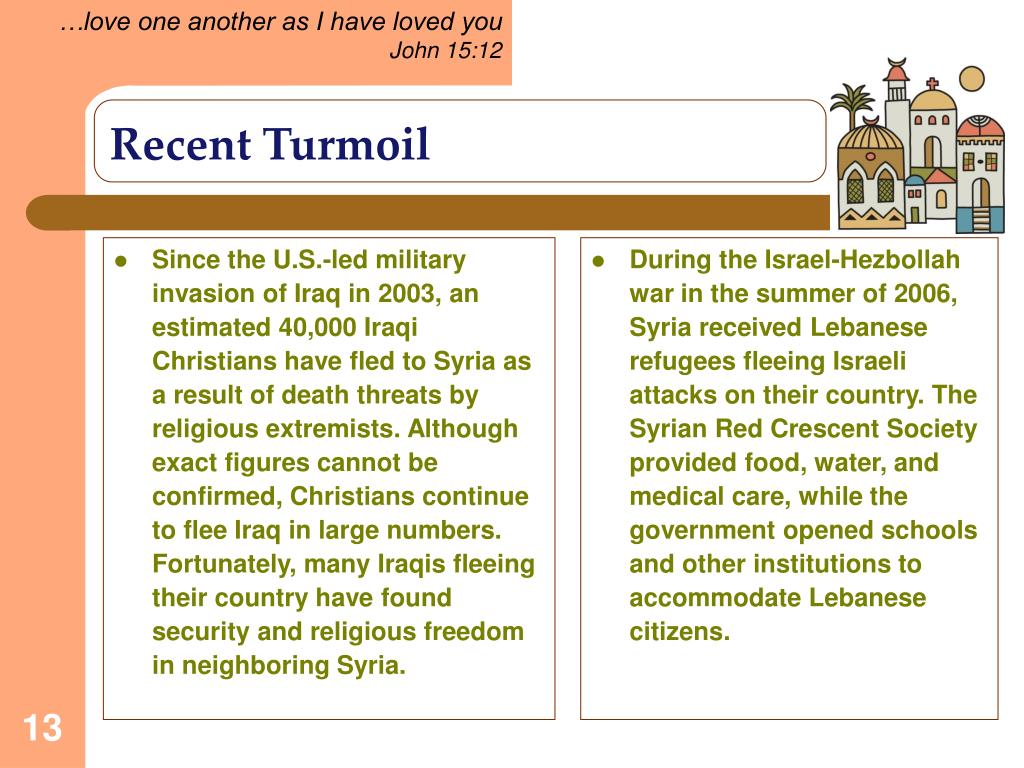 Since the U.S.-led military invasion of Iraq in 2003, an estimated 40,000 Iraqi Christians have fled to Syria as a result of death threats by religious extremists. Although exact figures cannot be confirmed, Christians continue to flee Iraq in large numbers. Fortunately, many Iraqis fleeing their country have found security and religious freedom in neighboring Syria.