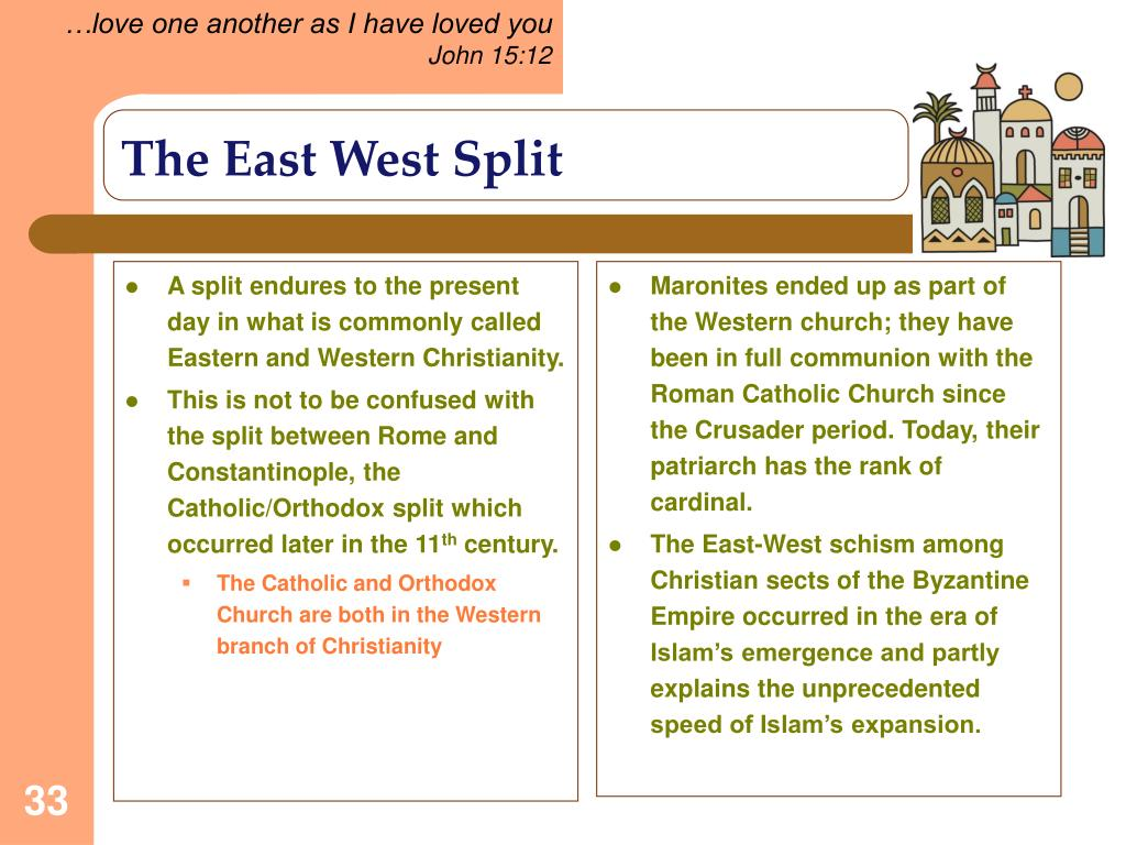 A split endures to the present day in what is commonly called Eastern and Western Christianity.