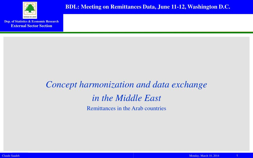 concept harmonization and data exchange in the middle east remittances in the arab countries l.