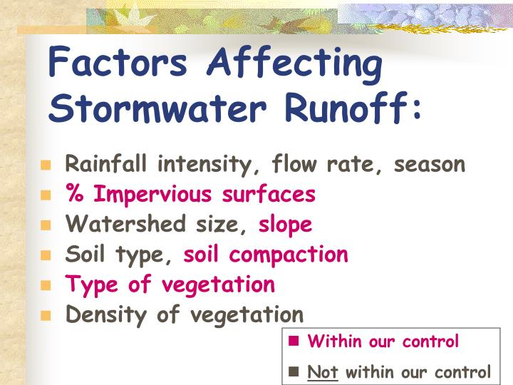 Factors Affecting           Stormwater Runoff: