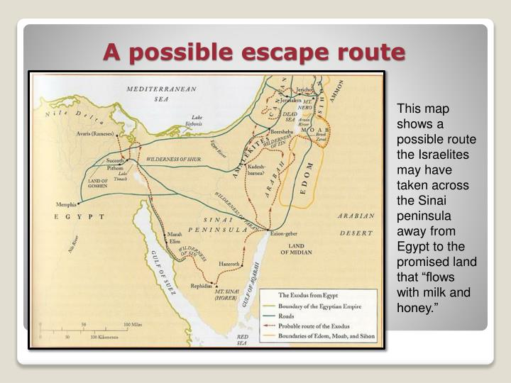 "This map shows a possible route the Israelites may have taken across the Sinai peninsula away from Egypt to the promised land that ""flows with milk and honey."""