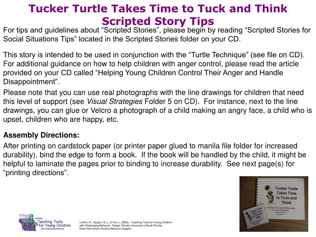tucker turtle takes time to tuck and think scripted story tips l.