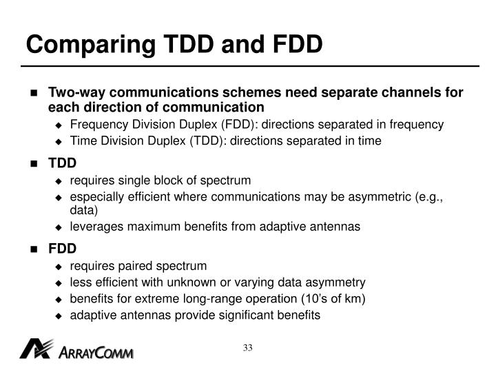 Comparing TDD and FDD