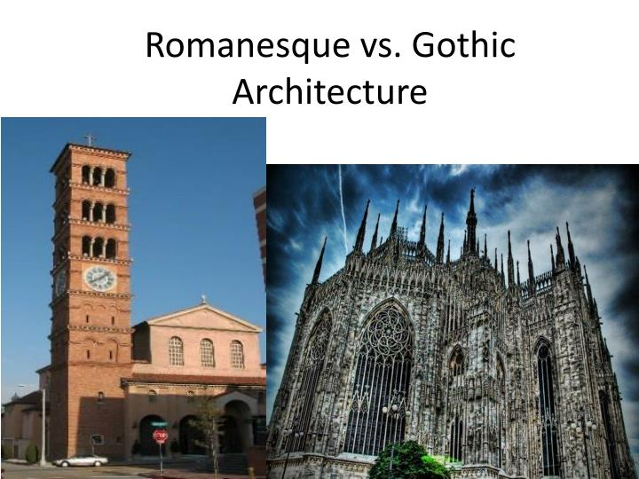 difference in gothic and romanesque architecture Romanesque architecture is an architectural style of medieval europe characterized by semi-circular archesthere is no consensus for the beginning date of the romanesque style, with proposals ranging from the 6th to the 11th century, this later date being the most commonly held.