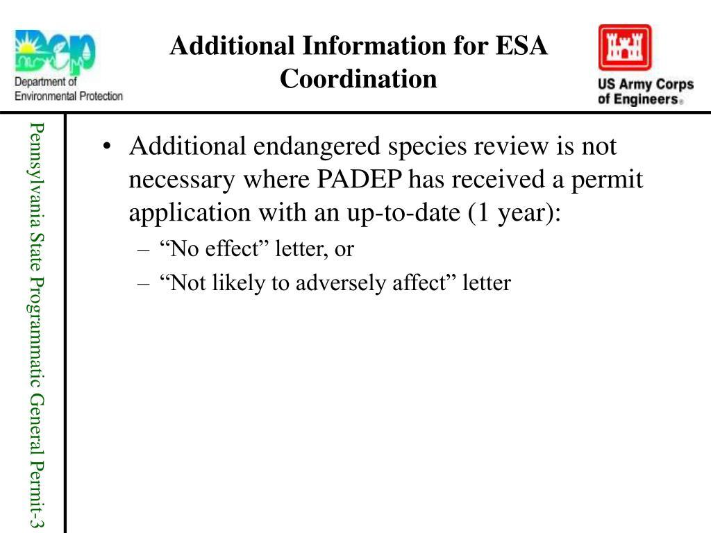 Additional Information for ESA Coordination