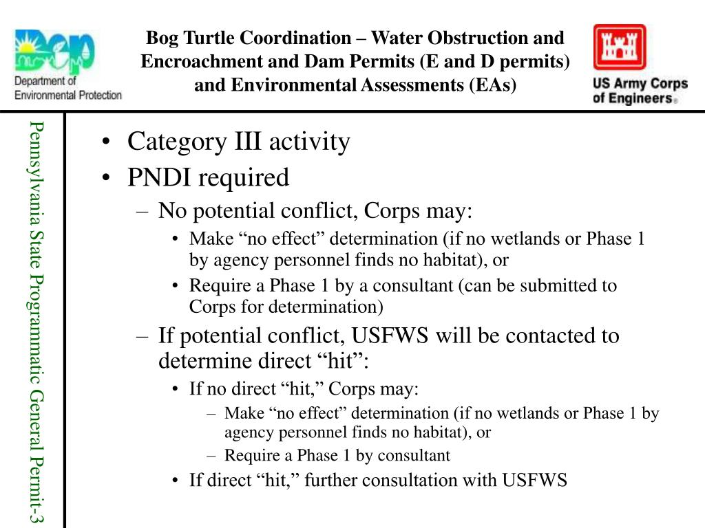 Bog Turtle Coordination – Water Obstruction and Encroachment and Dam Permits (E and D permits) and Environmental Assessments (EAs)