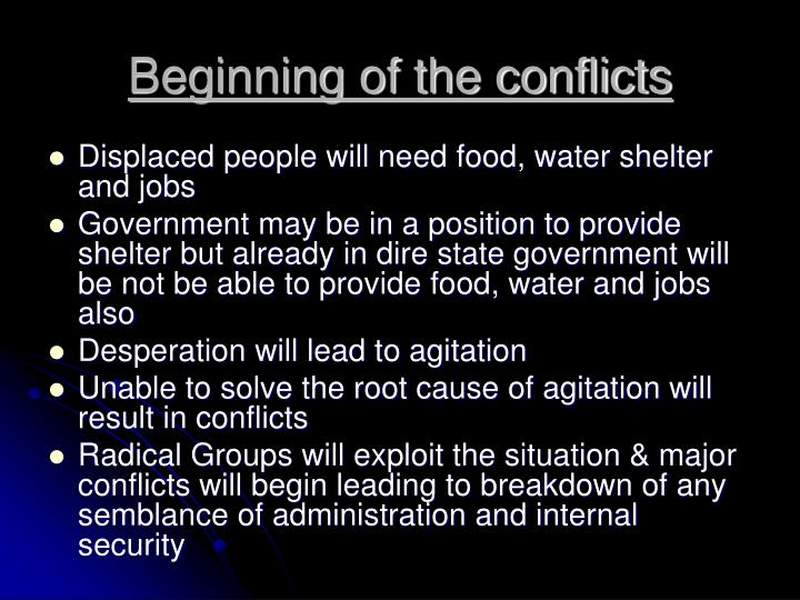 Beginning of the conflicts