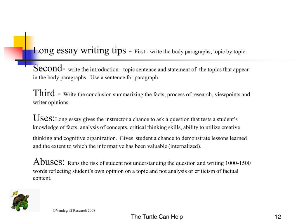 Long essay writing tips -