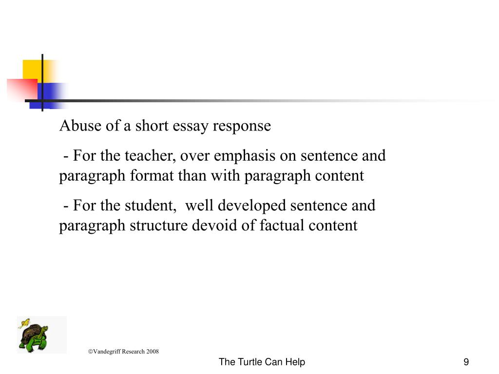 Abuse of a short essay response