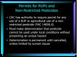 permits for rups and non restricted pesticides